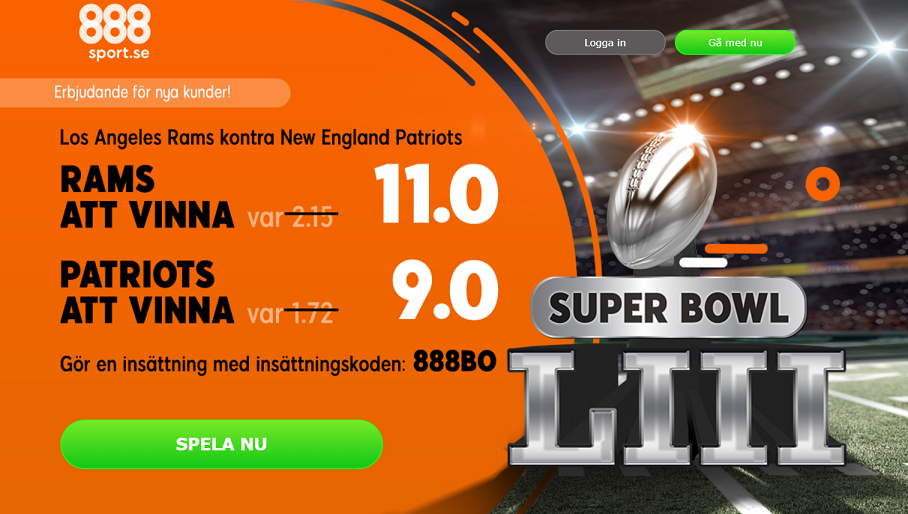 Boostade odds på Super Bowl hos 888sport!